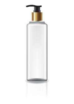 Flacon cosmétique carré blanc avec tête de pompe et bague en or pour beauté ou produit santé.