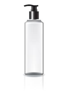 Flacon cosmétique carré blanc avec tête de pompe.
