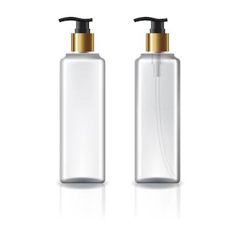 Flacon cosmétique carré blanc et transparent avec tête de pompe en or.