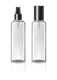 Flacon cosmétique carré clair avec couvercle noir et tête de pulvérisation.