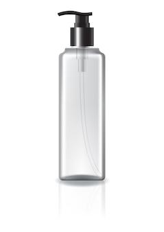 Flacon cosmétique carré clair avec tête de pompe.