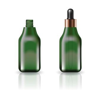 Flacon cosmétique carré vert vide avec couvercle compte-gouttes.