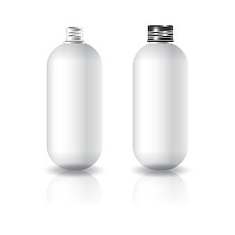 Flacon cosmétique rond blanc et ovale blanc avec couvercle à vis noir.