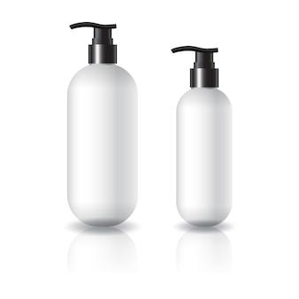 Flacon cosmétique rond et ovale blanc de 2 tailles avec tête de pompe noire pour beauté ou produit santé.