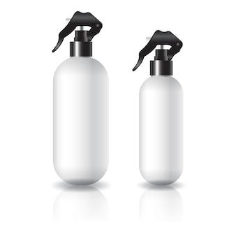 Flacon cosmétique rond et ovale blanc de 2 tailles avec tête de pulvérisation noire pour beauté ou produit santé.
