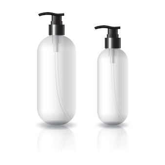 Flacon cosmétique rond et ovale transparent de 2 tailles avec tête de pompe noire.