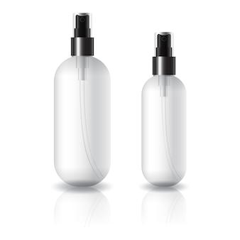 Flacon cosmétique rond et ovale transparent de 2 tailles avec tête de pulvérisation noire.