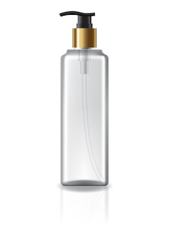 Flacon cosmétique transparent avec tête de pompe et bague en or pour beauté ou produit santé.