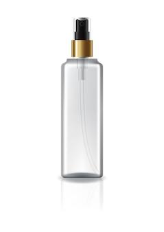 Flacon cosmétique transparent avec tête de pulvérisation et anneau en or pour beauté ou produit santé.