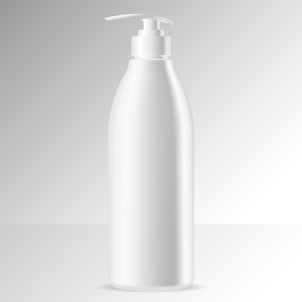 Flacon distributeur blanc. pompe peut crème, shampoing