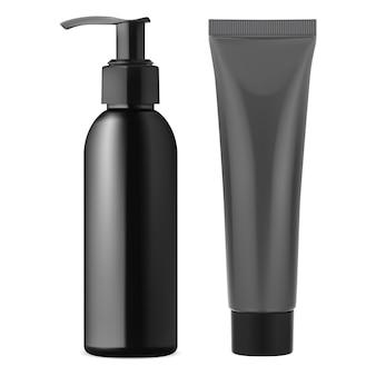 Flacon distributeur pompe noir. tube de crème en plastique.