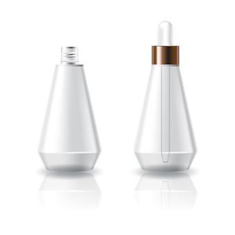 Flacon en forme de cône cosmétique transparent blanc avec couvercle compte-gouttes blanc.
