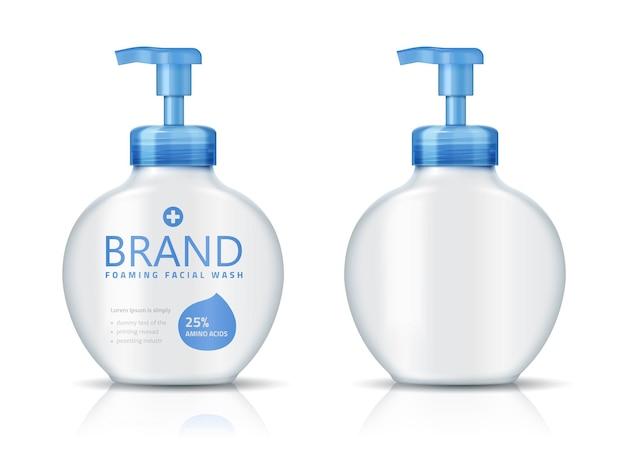 Flacon de lavage facial moussant, maquette de conteneur cosmétique vierge isolée