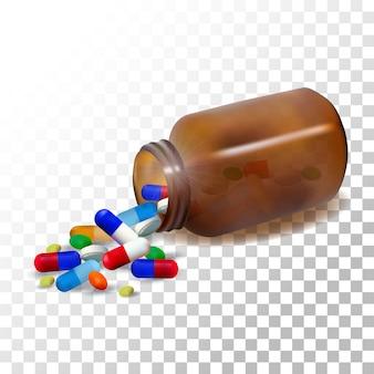 Flacon de médicament réaliste illustration sur transparent