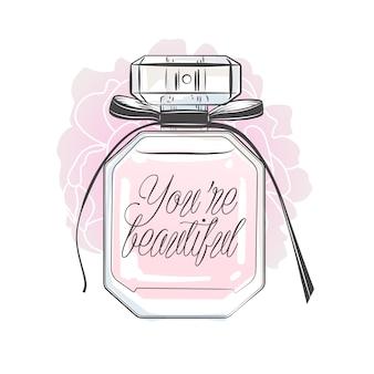 Flacon de parfum avec lettrage. illustration vectorielle dessinés à la main.