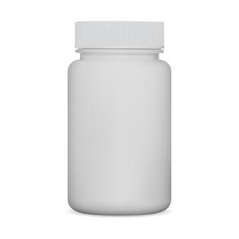 Flacon de pilules blanc. pot de supplément, emballage en plastique