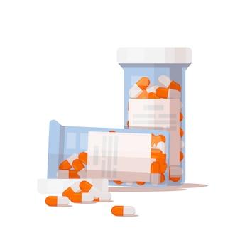 Le flacon de pilules et les capsules.