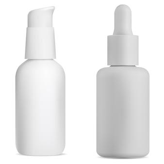 Flacon pompe airless sérum cosmétique peut tube blanc