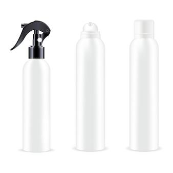 Flacon Pulvérisateur Blanc Déodorant En Aérosol Désodorisant En Aluminium Cosmétique Contenant Du Pulvérisateur De Pistolet Avec Gâchette Vecteur Premium