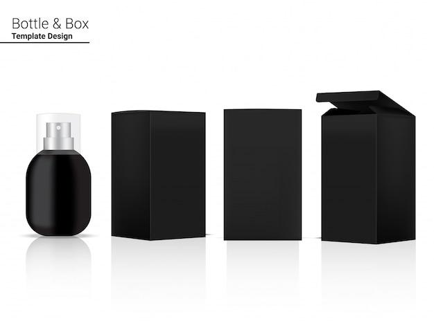 Flacon pulvérisateur cosmétique réaliste et boîte pour produit de soin ou médicament sur fond blanc illustration. soins de santé et conception de concept médical.