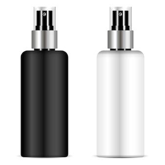Flacon pulvérisateur noir et blanc avec couvercle transparent