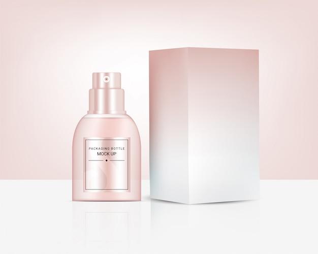 Flacon pulvérisateur réaliste or rose parfum cosmétique et boîte pour l'illustration de fond de produit de soin. soins de santé et conception de concept médical.