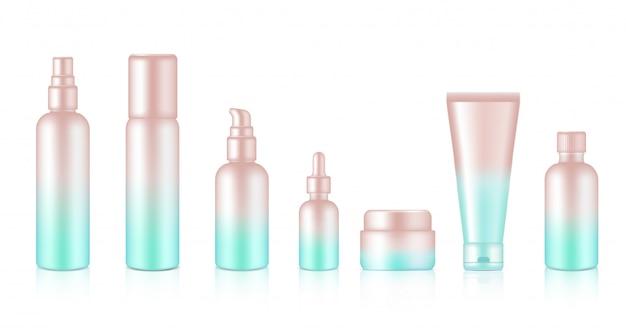 Flacon pulvérisateur réaliste or rose pastel savon cosmétique, shampooing, crème, compte-gouttes d'huile pour illustration de fond de produit de soin. soins de santé et conception de concept médical.