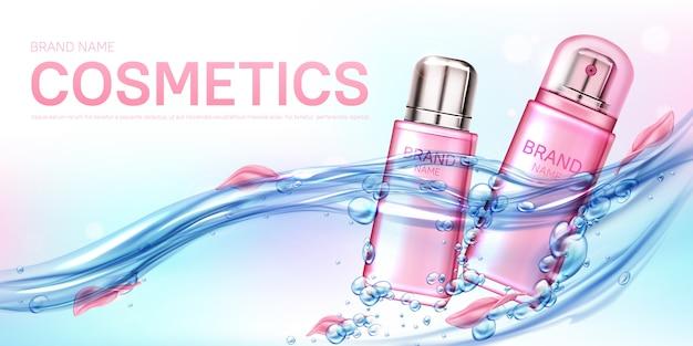 Flacon pulvérisateur rose parfum féminin dans la bannière de débit d'eau
