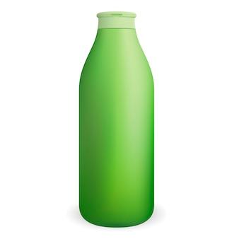 Flacon de shampoing ou gel douche cosmétique rond et vert.