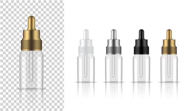 Flacon transparent compte-gouttes réaliste cosmétique