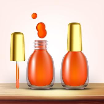 Flacon de vernis à ongles orange femelle cosmétique
