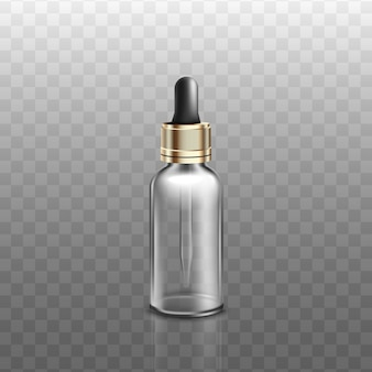 Flacon en verre médical ou cosmétique avec compte-gouttes réaliste, sur fond transparent. pipette ou contenant de produit aromatique liquide.