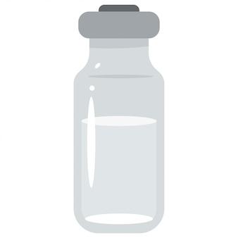 Flacon en verre médical isolé sur blanc