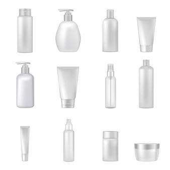 Flacons de bouteilles de cosmétiques transparents vides tubes tubes distributeurs de produits de beauté et de santé réalistes