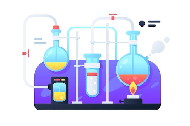 Flacons modernes avec du liquide pour les transformations chimiques. expérience scientifique conceptuelle utilisant le feu pour le développement de médicaments.