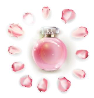 Flacons de parfum et fleur rose, pétales et perles. illustration 3d. modèle vectoriel