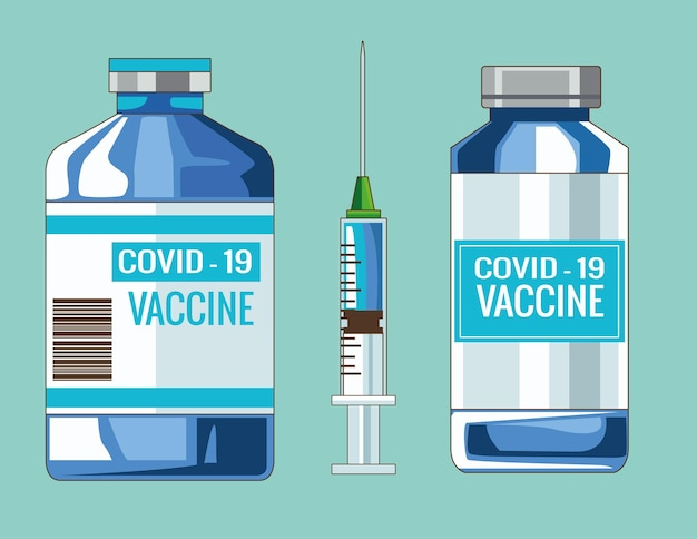 Flacons de vaccin covid19 et illustration d'injection de seringue