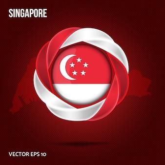 Flag singapour pin 3d design