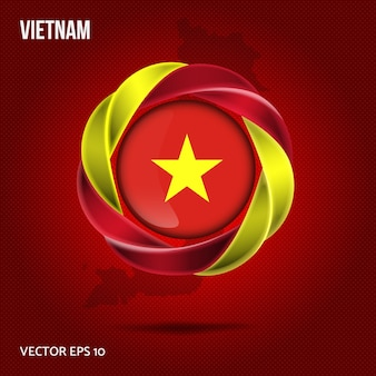 Flag vietnam broche design 3d