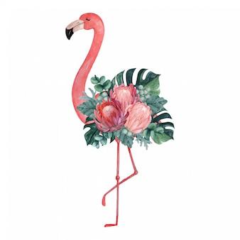 Flamant aquarelle exotique illustration avec arrangement floral tropical