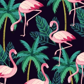 Flamant aux feuilles tropicales et aux palmiers