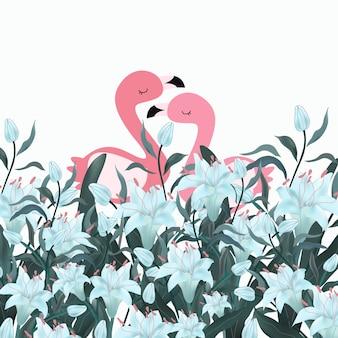 Flamant rose couple dans la forêt de fleurs bleues.