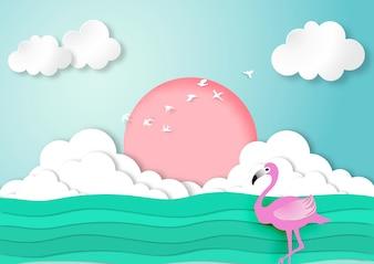 Flamant rose dans le style de papier d'art avec fond de mer et de ciel