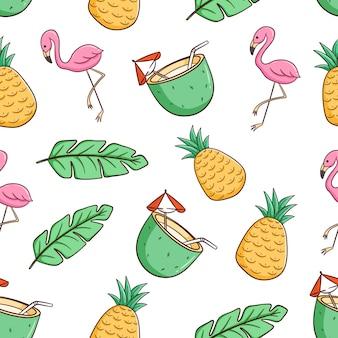 Flamant rose dessiné à la main, boisson à la noix de coco et modèle sans couture d'ananas