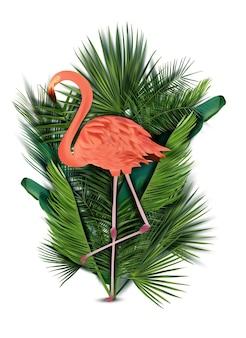 Flamant rose avec feuille tropicale