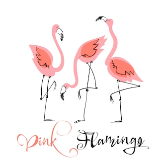 Flamant rose. illustration amusante dans un style mignon.