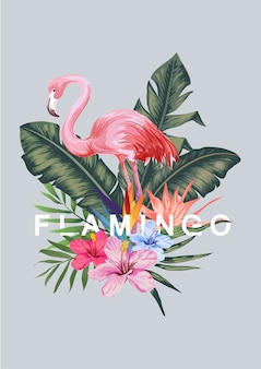 Flamant rose et illustration de feuille tropicale