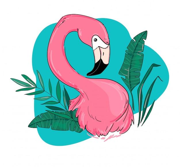 Flamant rose et illustration de feuilles tropicales.