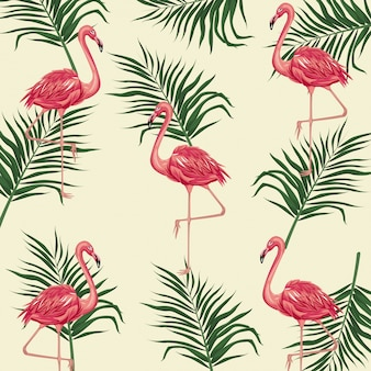 Flamant rose laisse exotique tropical