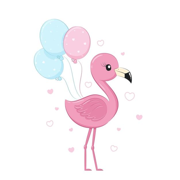 Flamant rose mignon avec des ballons.